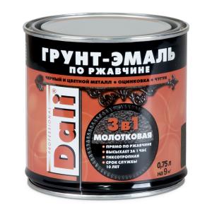 Грунт-эмаль по ржавчине Dali 3 в 1 Молотковая, коричневая, 0.75 л