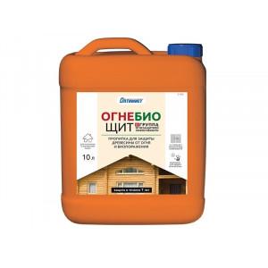 Пропитка ОГНЕ-БИОЩИТ для защиты древесины от огня и биопоражения для наружных и внутренних работ, 10 л