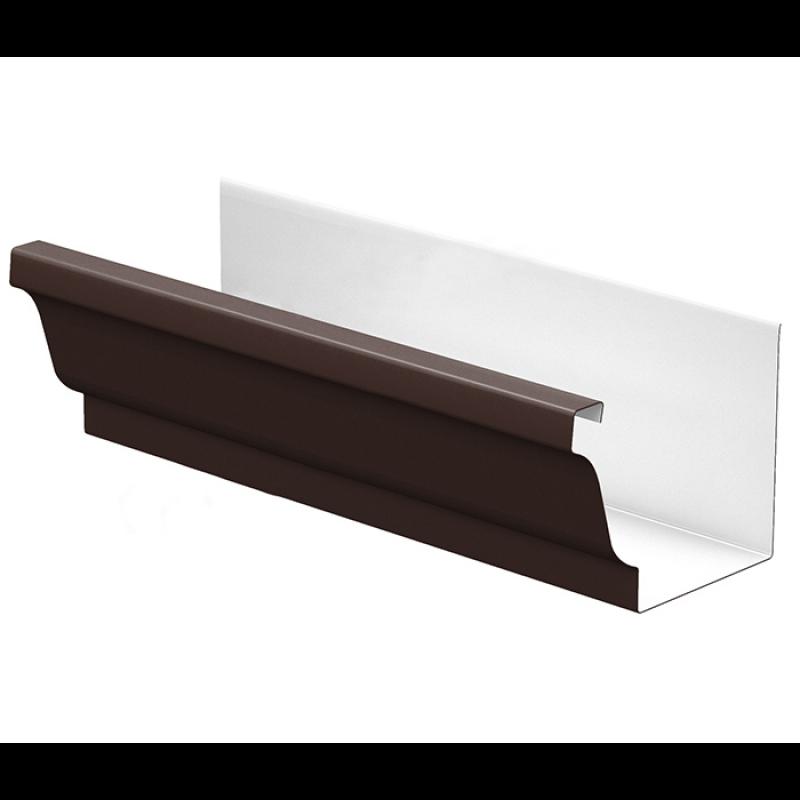 Желоб водосточный Металл Профиль Бюджет 120x86x3000, шоколадно-коричневый (RAL 8017)