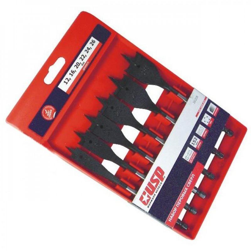 Набор сверл перовых USP Профи 36205 12-26 мм 6 шт