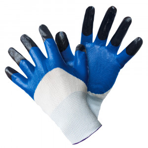 Перчатки нейлоновые с двойным нитриловым покрытием, бело-синие
