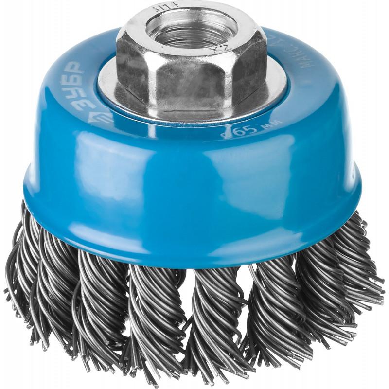 Щетка чашечная ЗУБР для УШМ, плетеные пучки стальной проволоки 0,8 мм, 65 ммхМ14, 35277-065_z02