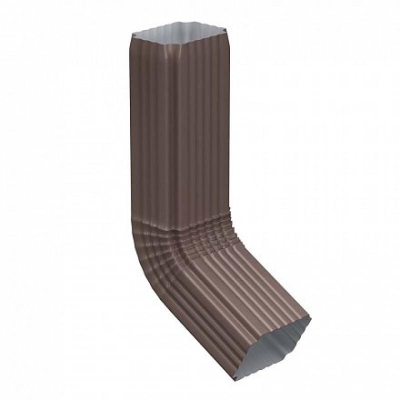 Труба водосточная с коленом Металл Профиль Бюджет 76x102x1000, коричневый шоколад (RAL 8017)