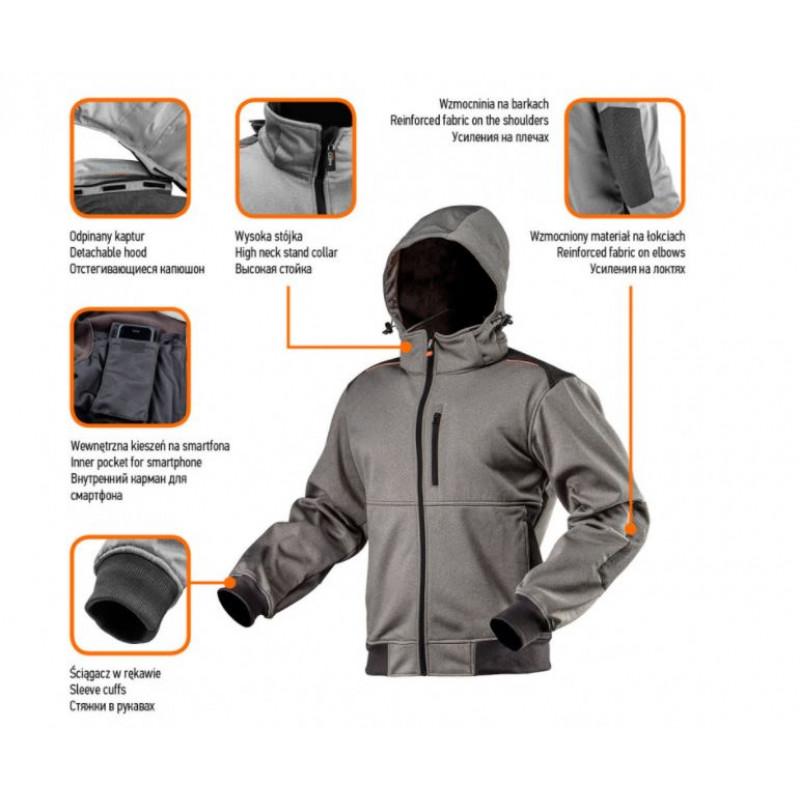 Блуза softshell с отстегивающимся капюшоном усиленная, S/48 NEO 81-551-S-1