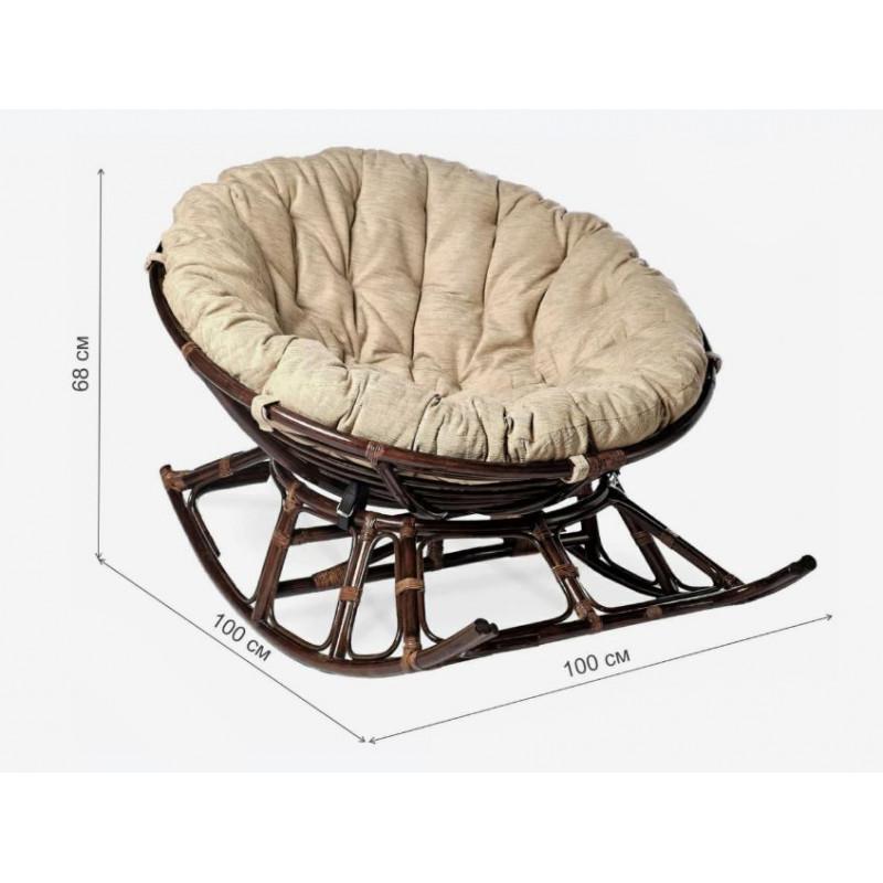 Кресло-качалка Папасан Харли D100 НР100-МТ001 на полозьях коньячный/бежевый-1