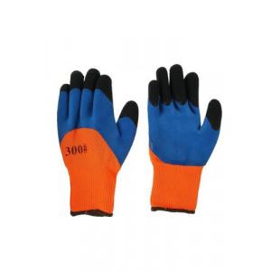 Перчатки нейлоновые оранжевые/синии с черными пальцами