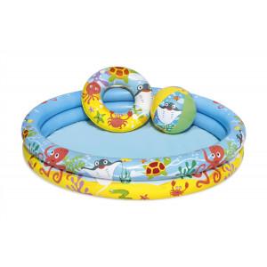 Детский надувной бассейн Bestway 51124 BW 122х20 см с мячом и кругом, 137 л, от 2 лет