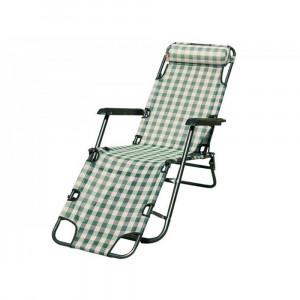 "Кресло Шезлонг ""БРИЗ"" каркас серый металик, зелено-белый квадрат (CK-170D-MT002)"