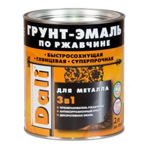 Грунт-эмаль по ржавчине Dali 3 в 1 коричневая RAL 8017 2 л