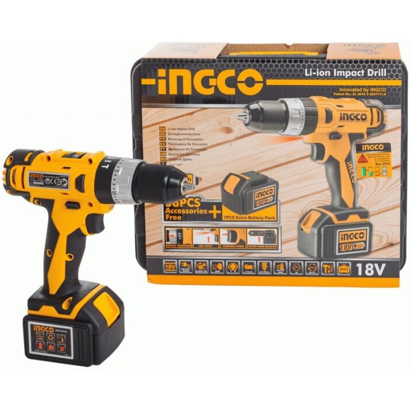 Аккумуляторный ударный шуруповерт 18 В INGCO CIDLI228180-1
