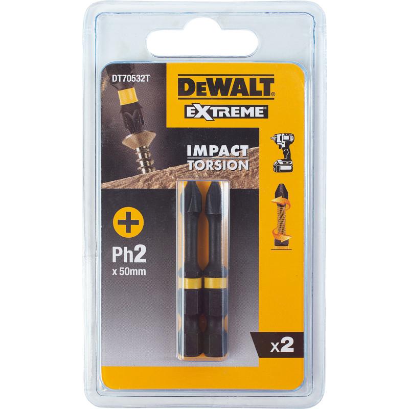 Биты ударные Dewalt PH2x50 мм, 2 шт