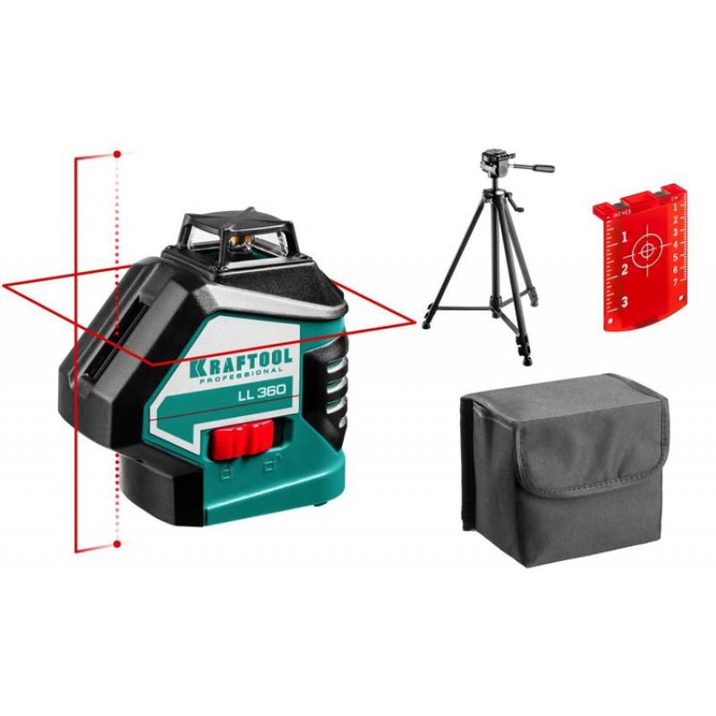 Лазерный нивелир KRAFTOOL LL360-3 + штатив