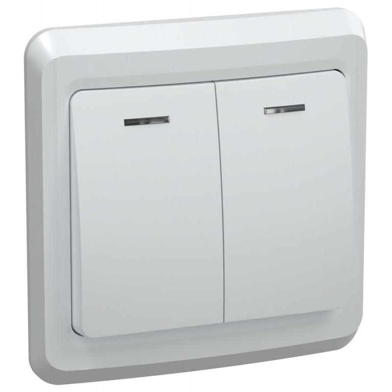 Выключатель 2-клавишный с индикацией ВС10-2-1-ВБ 10А ВЕГА белый IEK