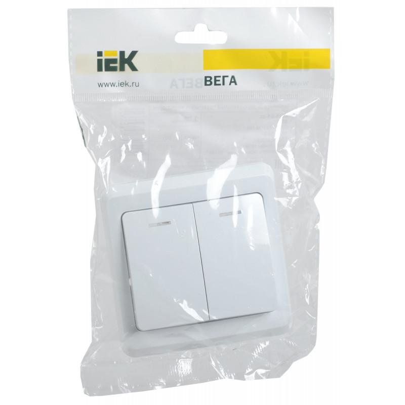 Выключатель 2-клавишный с индикацией ВС10-2-1-ВБ 10А ВЕГА белый IEK-1