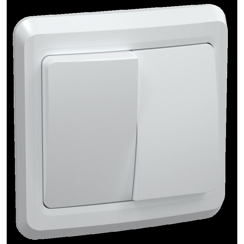 Выключатель 2-клавишный ВС10-2-0-ВБ 10А ВЕГА белый IEK